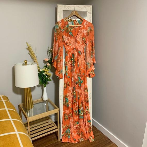 Algo-Ettes 1970s Coral Boho Prairie Dress