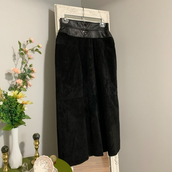 1980s Suede & Leather Black Skirt