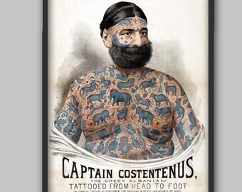 Tattoo Art - Tattooed Man - Tattoo Wall Decor - Tattooed Man Poster - Vintage Tattoo Art - Captain Costentenus