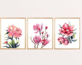 Watercolor Flower Print - Flowers SET of 3 -  Flowers Wall Art Print - Flowers Painting Print - Botanical Illustration - Room Decor