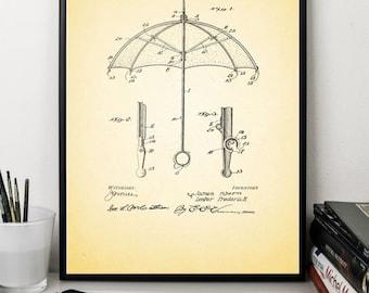 Umbrella patent prints patent art print vintage antique print wall art print home decor office decor poster gift  5x7 8x12 12x16