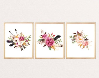 Nice Print Watercolor Flowers Arrows Feathers Arrows Floral Wall Art Print  Watercolor Floral Poster Nursery Decor Home Office Decor SET OF 3