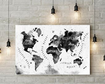 World Map Print Office Wall Art Watercolor Map Office Decor Black And White  Minimalist Map Poster Map Painting Map Art 8x12 12x18 16x24