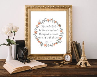 Bible Quotes Psalm 34:5 Those Who Look To Him Are Radiant Bible Verse Print Art  Scripture Wall Art Religious Art Faith Framed Quote Letters