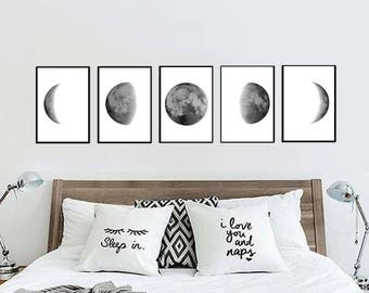 Moon Phases Print   Moon Phases Poster   Moon Wall Art   Bedroom Wall Art   Bedroom Decor   Bedroom Design Poster   Black And White  Set Of 5