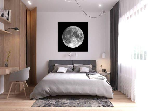 Mond drucken Poster Schlafzimmer Wand Kunst Dekor Mond Foto schwarz-weiß  große Größe