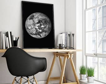 Giant Planet Earth poster black and white planet Earth print minimalist wall art decor home decor office wall art astronomy space print