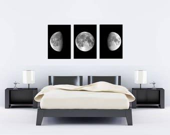 Moon phases print moon poster wall art print bedroom wall art decor black and white minimalism bedroom decor astronomy print SET of 3