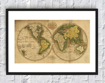 World Map Print -  Antique Map Poster - Wall Art Decor - Travel Print - 21x12 inch