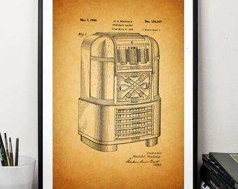 Phonograph cabinet patent prints music print patent art wall art print decor home office decor vintage poster 5 x 7 8 x 12 12 x 16