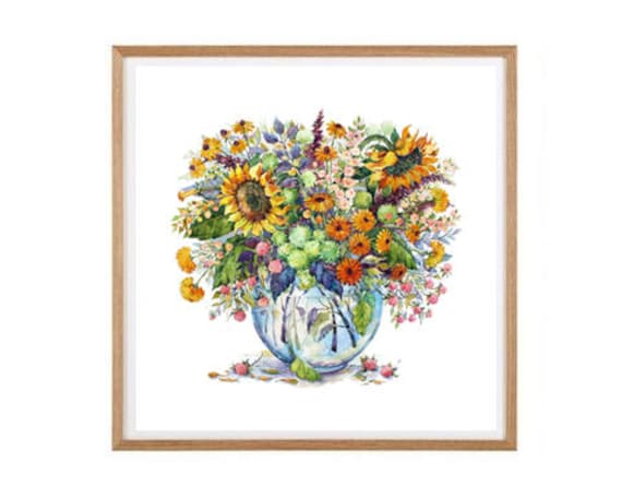 Sonnenblumen Gemälde-Wand-Kunst-Druck botanische Dekor | Etsy