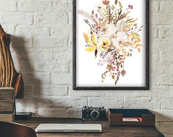 Watercolor Flowers Print - Flowers Wall Art - Bouquet Print - Botanical Poster - Art-374