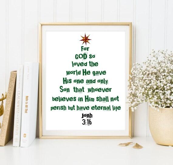 Bible Verse John 316 Christian Print Quote