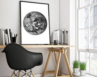 Planet Earth print black and white minimalist wall art decor home decor office wall art