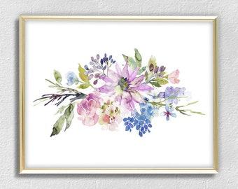 Flowers Print - Flowers Wall Art Decor - Watercolor Flowers Art - Flowers Painting - Flowers Illustration - Pink Blue Green - 8x12x18x24