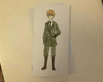 England  - Hetalia Handmade Greetings Card - Happy Birthday - Well Done - Thank You - Friend Card - Blank