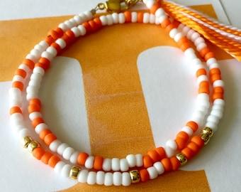 University of Tennessee Game Day Bracelet, Beaded Wrap Bracelet, Tassel, Morse Code, Orange, White, Tennessee Volunteers, College Football