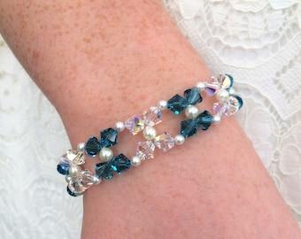 Wedding Jewelry, Bridal Jewelry, Bridesmaid Jewelry, Bridesmaid Gift, Bridesmaid Bracelet, Crystal and Pearl Bracelet, Wedding Bracelet