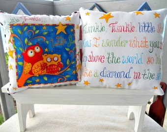CLEARANCE SALE - Twinkle, Twinkle, Little Star Lil Pillow Set, 2- 7X7, Childrens Pillows, Nursery Rhymes/Songs