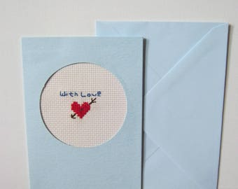 A card 'With love'. Hand crafted in cross stitch card.
