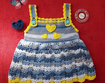 Baby Girl Summer Dress Toddler Dress Floral Cotton Dress Winter Pinafore Tunic with yellow hearts