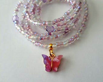 Pink Flower Charm Waist Beads With Clasp