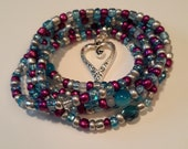 Multicolor Waistbeads with 39 Heart 39 Charm, stretch, wrap bracelets, unique gift, under 10, beaded anklets, necklace, inexpensive gift