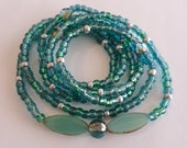Aqua and Silver Waistbeads, stretch, weight loss tracker, colorful, unique waistbeads, inexpensive gift, wrap bracelets, beaded anklets