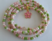 Pink Green and White Waist beads with Pink Enamel 39 Flower 39 Charm, weight loss tracker, stretch, unique, colorful,under 10, inexpensive gift