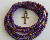 Purple and Bronze Waist beads with 39 Ankh 39 Charm, stretch, belly beads, weight loss tracker, wrap bracelets, anklets, unique gift, under 10