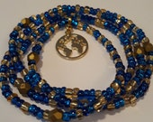 Blue and Gold Waist beads with Gold 39 Globe 39 Charm, stretch, wrap bracelets, anklets, necklace, unique gift, under 10, inexpensive gift