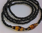 Black Waist beads with Focal Beads, wrap bracelets, beaded anklets, necklace, seed beads, women 39 s jewelry, stretch, gift for her