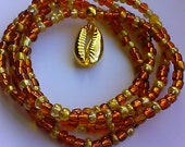 Waistbeads with Gold Cowrie Shell Charm, wrap bracelets, women, weight loss, stretch, anklets, necklace, afrocentric, African