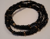 Black and Gold Waist beads, African, stretch, weight loss tracker, wrap bracelets, belly beads, beaded anklets, unique, inexpensive