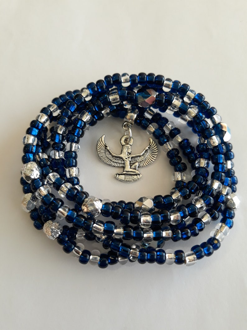 stretch weight loss tracker belly beads Cobalt Blue and Silver Waist beads with Silver /'Isis/' Charm unique wrap bracelets belly beads