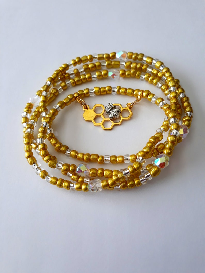 Queen Bee Waist Beads body beads under 20 stretch plus available bee in honeycomb charm gold waist beads belly beads belly beads