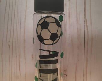 24 oz custom soccer water bottle personalized
