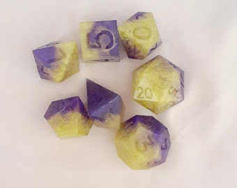 Purple Worm DnD Dice Set | Raw Unfinished Dice | B-Grade
