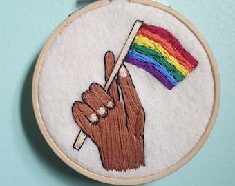 Gay Pride Flag/LGBTQ+ Embroidery Hoop