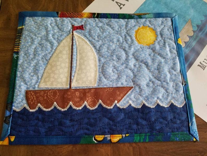 Sail away nautical beachy applique mug rug pattern by lisa etsy