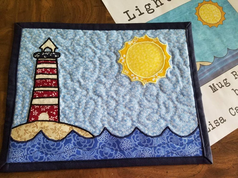 The lighthouse nautical beachy applique mug rug pattern by etsy