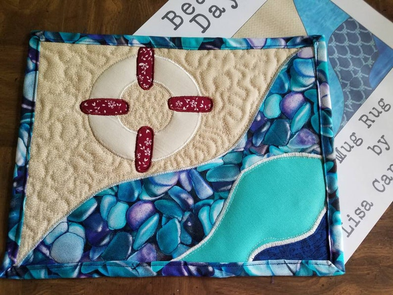 Beach day nautical beachy applique mug rug pattern by lisa etsy