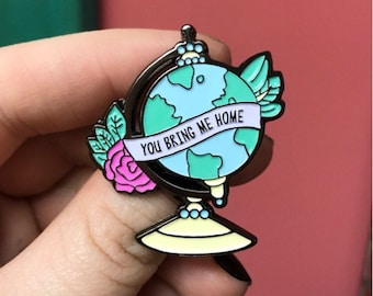 """SECONDS """"You Bring Me Home"""" Globe Enamel Pin (w/ minor flaws)"""