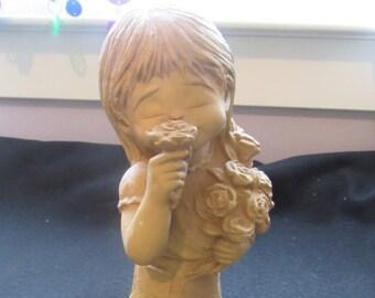 Vintage  Bill Mack  Fannykins Solar Statuary Figurine Sweet Fragrance Girl Smelling Roses 2748