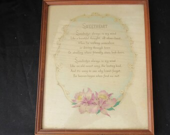"""Vintage Wood Frame Print Under Glass """"Sweetheart"""" Orchids Off White   2795"""