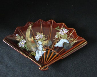 Vintage Japanese Fan Porcelain Dish Water Lily Butterfly Gold Leaf Japan Jewelry Other Decorative Collectibles