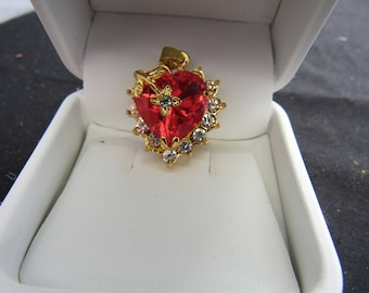 Pendent Pink Glass Heart Surrounded  Clear Stones Set in Gold Tone Metal Overlaid Gold Tone Flower Clear Stones  2254