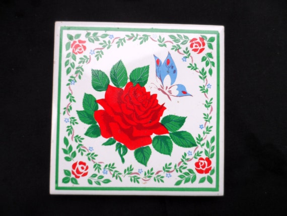Set of 3 Vintage Ceramic Trivets, Kitchen Wall Hanging, Decor Rose by  Jasco,Butterfly by Hyalyn,Porcelain, Lady made in Bavaria 732