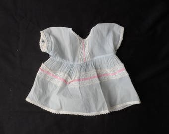 Free Shipping in USA Vintage Doll Dress Light Blue White Lace Pink Ribbon  1954