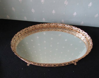 Vintage Oval Gold Toned Mirrored Vanity Tray  3008
